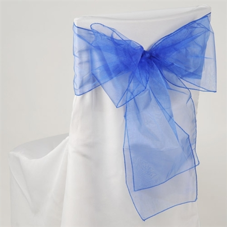 Royal Blue Organza Chair Sash 10 Pieces