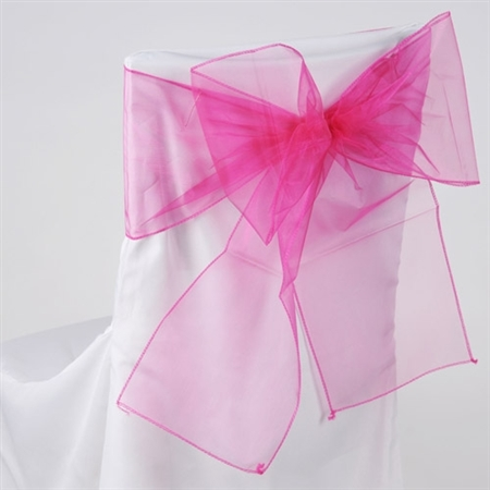 Fuchsia Organza Chair Sash 10 Pieces