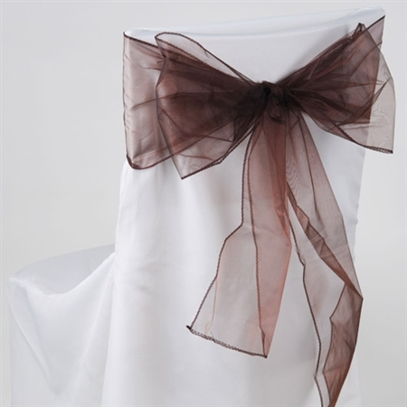 Chocolate Brown Organza Chair Sash 10 Pieces