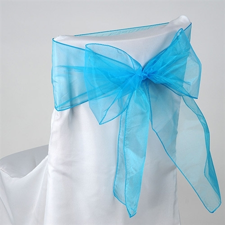 Turquoise Organza Chair Sash 10 Pieces