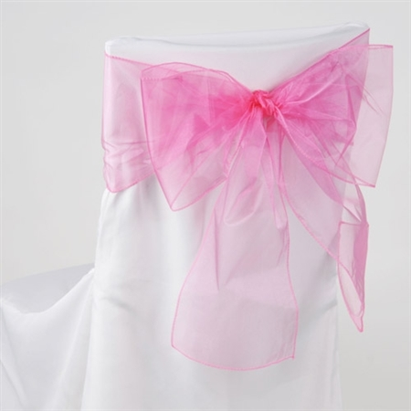 Hot Pink Organza Chair Sash 10 Pieces