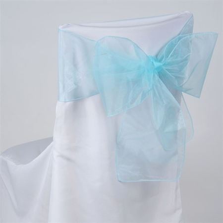Aqua Blue Organza Chair Sash 10 Pieces