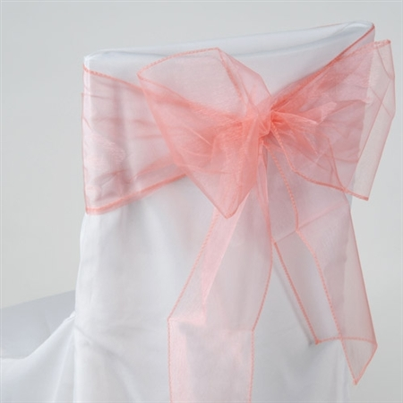 Coral Organza Chair Sash 10 Pieces
