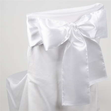White Satin Chair Sash 10 Pieces