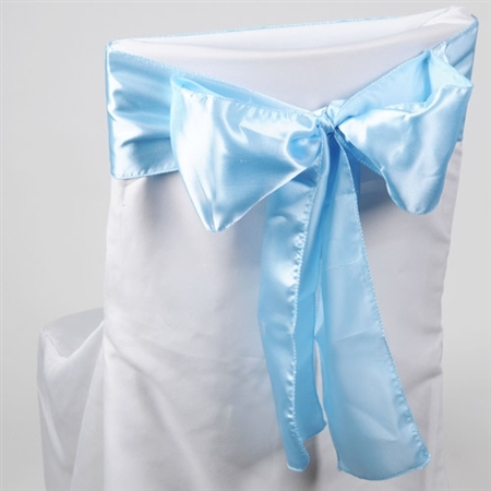 Light Blue Satin Chair Sash 10 Pieces