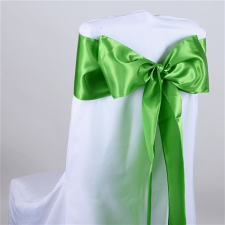 Apple Green Satin Chair Sash 10 Pieces