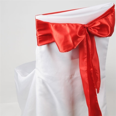 Red Satin Chair Sash 10 Pieces