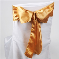 Gold Satin Chair Sash 10 Pieces