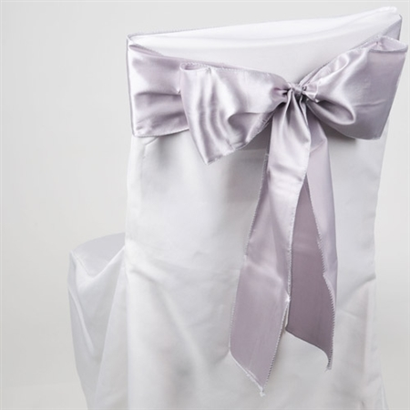 Silver Satin Chair Sash 10 Pieces