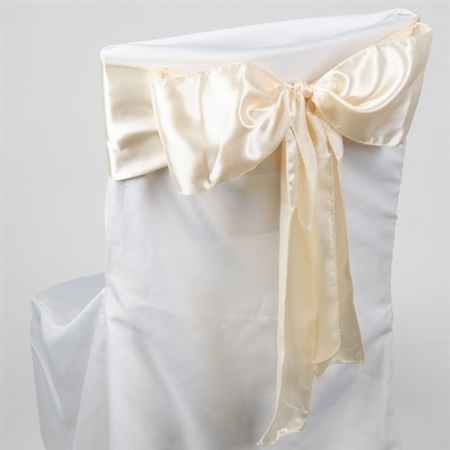 Ivory Satin Chair Sash 10 Pieces