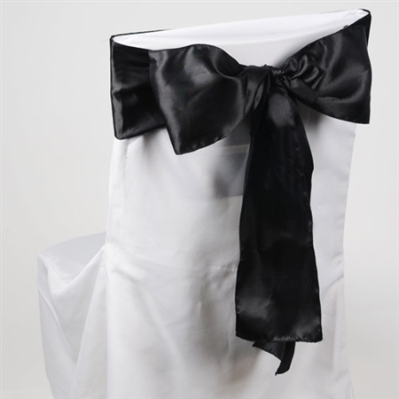 Black Satin Chair Sash 10 Pieces