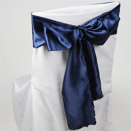 Navy Blue Satin Chair Sash 10 Pieces