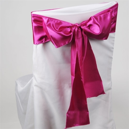 Fuchsia Satin Chair Sash 10 Pieces