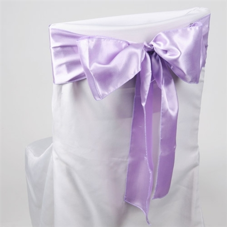 Lavender Satin Chair Sash 10 Pieces