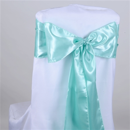 Aqua Blue Satin Chair Sash 10 Pieces