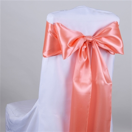 Coral Satin Chair Sash 10 Pieces