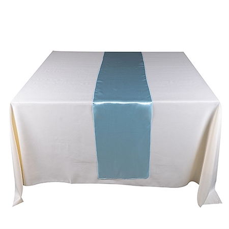 Light Blue Satin Table Runner