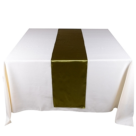 Spring Moss Satin Table Runner