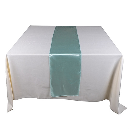 Aqua Blue Satin Table Runner