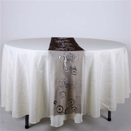 Black with Silver Metallic Organza Table Runner