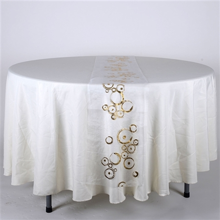 White with Gold Metallic Organza Table Runner